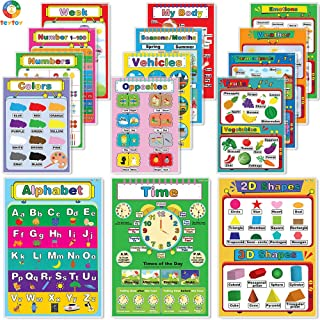 My First Educational Posters, 15pcs Laminated Preschool Poster for Toddler and Kid, Learning Numbers Shapes Colors Alphabe...