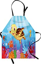 Ambesonne Turtle Apron, Funny Cartoon Style Underwater Sea Animals Baby Turtle and Fish Pattern, Unisex Kitchen Bib with Adjustable Neck for Cooking Gardening, Adult Size, Blue Brown