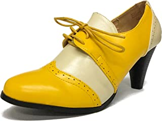 Chase & Chloe Dora-5 Two Tone Lace Up Low Heel Women's Oxford