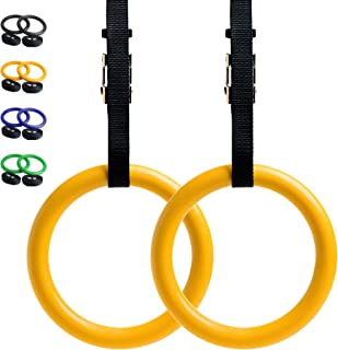 Gymnastic Rings with Adjustable Straps, Metal Buckles & Ebook - Home Gym (Set of 2) - Non-Slip - Great for Workout, Strength Training, Fitness, Pull Ups and Dips, Ebook Included
