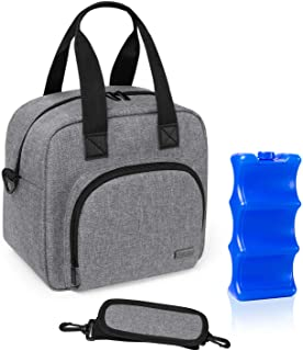 Luxja Breastmilk Cooler Bag with an Ice Pack (Hold 6 Breastmilk Bottles, 5-9 Ounces), Leakproof Cooler Bag for Breast Milk...
