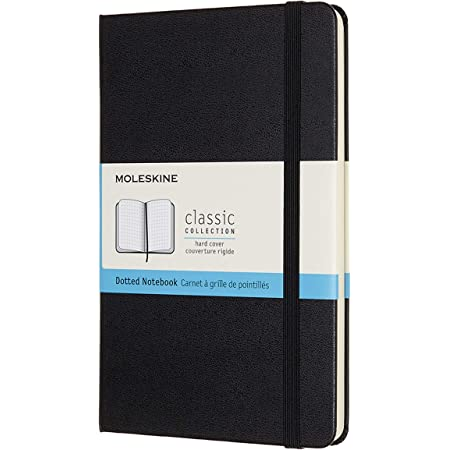 """Moleskine Classic Notebook, Hard Cover, Medium (4.5"""" x 7"""") Dotted, Black, 208 Pages"""