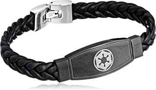 "Star Wars Jewelry Men's Imperial Symbol Black Leather Bracelet, 8.5"""