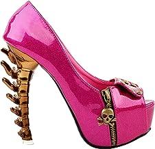 SHOW STORY Womens Skull Zipper Peeptoe Platform Bone Heel Club Pumps,LF80624
