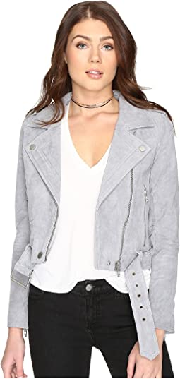 Grey Suede Moto Jacket in Cloud Grey