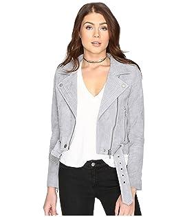 Grey Suede Moto Jacket in Cloud Grey