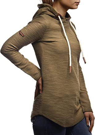 LEIF NELSON Damen Pullover-Hoodie Kapuze Kapuzenshirt Moderner Basic Sweatshirt-Kapuzenpullover Frauen Longsleeve-Pulli Slim Fit K/ängurupullover Kapuzenpulli LN1925