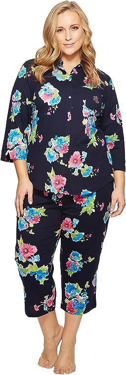 LAUREN Ralph Lauren Plus Size 3/4 Sleeve Capri PJ Set