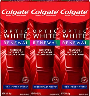 Best Colgate Optic White Renewal Teeth Whitening Toothpaste with Fluoride, 3% Hydrogen Peroxide, High Impact White - 3 Ounce (3 Pack) Review