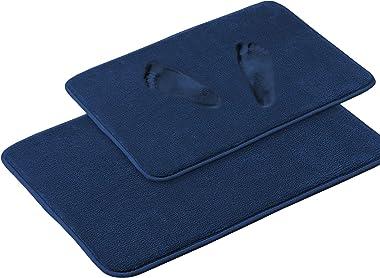 Soft Memory Foam Microfiber Bath Rugs Extra Absorbent Flannel Bath Mats Machine-Washable Bathroom Mat Set, 2 Piece, 20x32/17x
