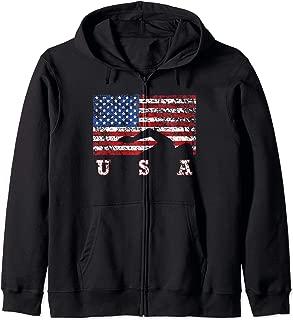 American Flag Swimming Hoodie USA Gift Matching Swim Team Zip Hoodie