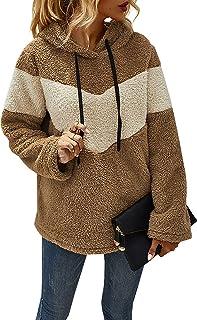Byinns Women's Long Sleeve Fleece Sweatshirt Warm V-striped Hoodies Pullover Jacket Coat