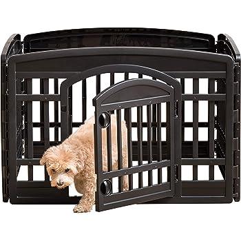 IRIS USA 24'' 4 Panel Exercise Pet Playpen with Door, Black