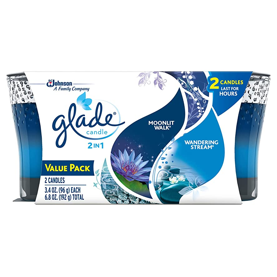 嘆く幾分貢献するGlade 2in1 Jar Candle Air Freshener, Moonlit Walk and Wandering Stream, 2 count, 6.8 Ounce by Glade