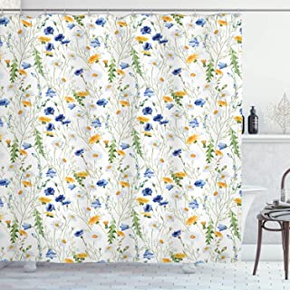 Ambesonne Flower Shower Curtain, Wild Flowers Poppies and Daisies Rural Nature Scenery in Meadows Rustic, Cloth Fabric Bathroom Decor Set with Hooks, 70