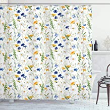 Ambesonne Flower Shower Curtain, Wild Flowers Poppies and Daisies Rural Nature Scenery in Meadows Rustic, Cloth Fabric Bathroom Decor Set with Hooks, 75