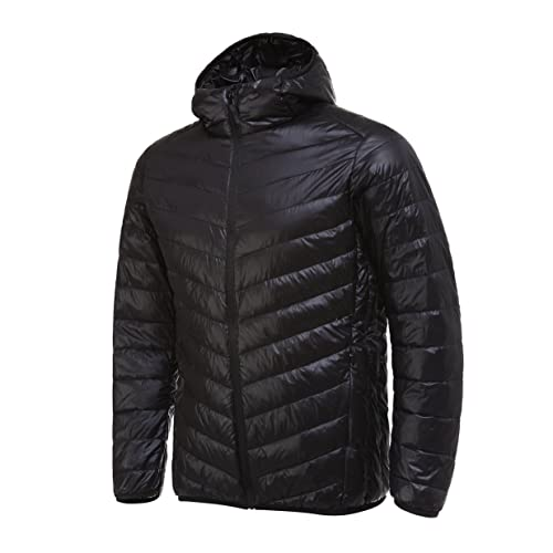 Mens Packable Ultra Light Down Hooded Outdoor Sports Jacket
