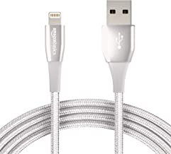 AmazonBasics Double Nylon Braided USB A Cable with Lightning Connector, Premium Collection, MFi Certified iPhone Charger, 10 Foot, Silver