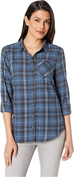 Long Sleeve One-Pocket High-Low Flannel Plaid Shirt