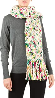 Multicolor Chunky Knitted Fringed Scarf - Handmade in Italy