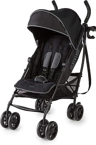 Summer 3Dlite+ Convenience Stroller, Matte Black – Lightweight Umbrella Stroller with Oversized Canopy, Extra-Large S...