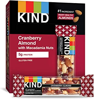 KIND Bars, Cranberry Almond + Antioxidants with Macadamia Nuts, Gluten Free, Low Sugar, 1.4 Ounce (12 Count)