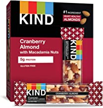 KIND Bars, Cranberry Almond + Antioxidants with Macadamia Nuts, Gluten Free, Low Sugar, 1.41 Ounce (12 Count)