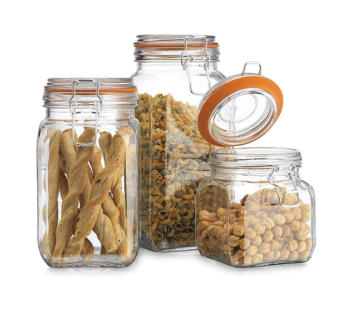 Airtight Glass Canister Hermetic Seal Bail & Trigger/Jar with Lidx2022; Use As Tea - Coffee - Sugar Canisterx2022; Wide Mouth/Square Shape/Set of 3