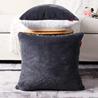 Mandioo Pack of 2 Two-Sided White and Grey Faux Soft Fur Fuzzy Cozy Decorative Throw Pillow Covers Set Cushion Cases Pillowcases for Sofa Bedroom Car 24x24 Inches