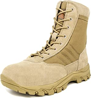 Men's 8 inch Military Tactical Boots Lightweight Combat Desert Shoes with Side Zipper, Sand