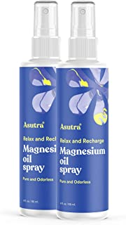ASUTRA Topical Magnesium Chloride Oil Spray, 4 fl oz | Rapid Absorption | Relieve Muscle Cramps | Fight Joint Pain | Stres...