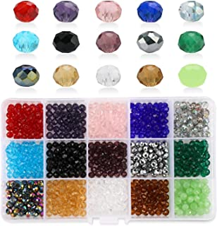 Phogary 1200pcs Glass Beads, Mixed Colors Crystal Briolette Beads Assorted Kit Multi-Colors Lustered Loose Spacer Beads, 4mm Rondelle Shape for Jewelry Making, DIY Crafting (15 Colors)