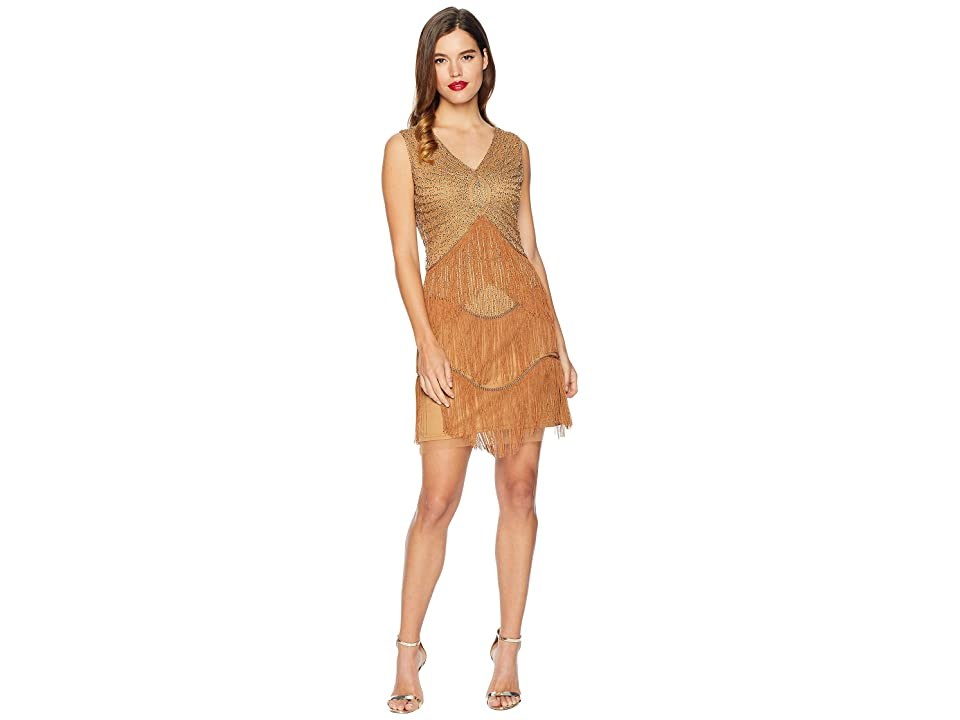Unique Vintage 1920s Beaded Renee Fringe Cocktail Dress (Gold Metallic) Women