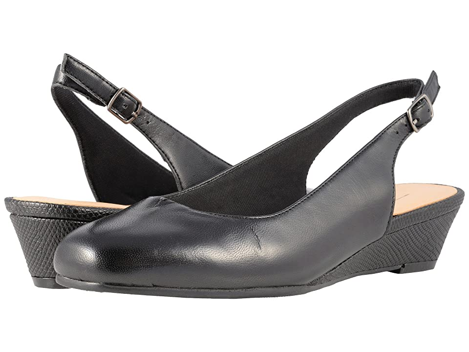 Retro Vintage Style Wide Shoes Trotters Lenore Black Soft Leather Womens Slip on  Shoes $99.95 AT vintagedancer.com