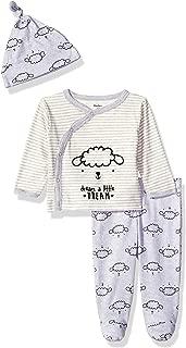 GERBER Baby Girls' 3-Piece Shirt, Footed Pant and Cap Set