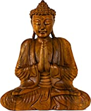 G6 COLLECTION Wooden Serene Sitting Buddha Statue Handmade Meditating Sculpture Figurine Decorative Home Decor Accent Hand...