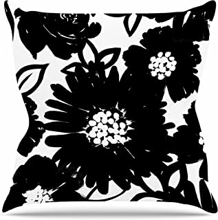 "KESS InHouse EO1022AOP03 18 x 18-Inch ""Emine Ortega Monochromatic Blooms Black White"" Outdoor Throw Cushion - Multi-Colour"