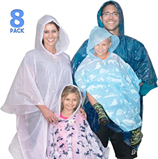 Disposable Rain Poncho Family Pack of 8. Emergency Rain Ponchos- Rain Gear for Hiking, Travel, Parks- Rain Capes Ponchos with 4 Hooded Ponchos for Adults, 4 Kids Ponchos with Fun Designs