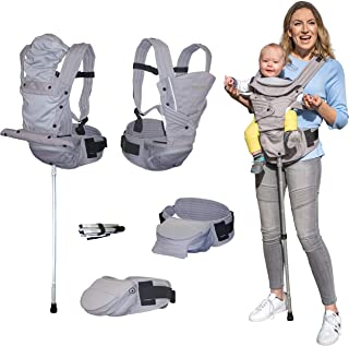 Mamapod Baby Carrier with Support Pole, All Seasons, All Positions, Ergonomic, Comfortable, Back Relief, for Infants, Babies, Toddlers, S200, Grey