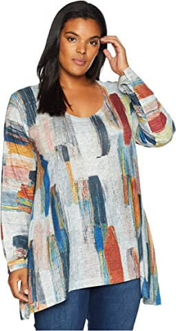 Plus Size Brush Stroke Printed Tunic