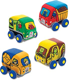 Melissa & Doug 9221 Pull-Back Construction Vehicles - Soft Baby Toy Play Set of 4 Vehicles