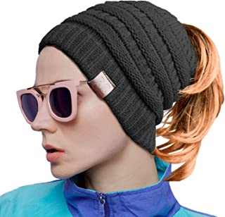 Women Ponytail Beanie Messy Bun Style Hat Stretchy Cable Knit Wool Slouchy Skull Winter
