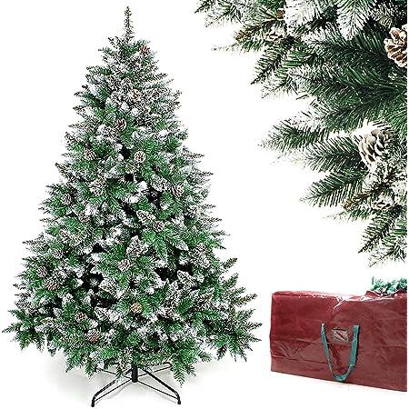 Homde Christmas Tree Artificial Full Xmas Tree 5/6/7 Feet with Bag Flocked Snow Pine Cone (6ft)