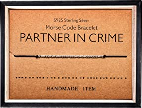 Morse Code Bracelet 925 Sterling Silver Beads on Silk Cord Secret Message PARTNER IN CRIME bracelet Gift Jewelry for her