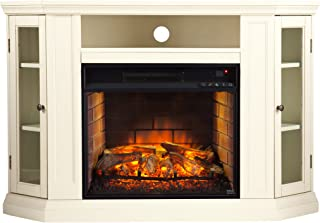Southern Enterprises Claremont Convertible Media Infrared Fireplace, Ivory Finish