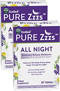 ZzzQuil Pure Zzzs All Night Extended Release Melatonin Sleep Aid Supplement, 56 Tablets with Lavender & Valerian Root, Sle...