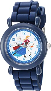 DISNEY Boys Frozen Elsa Analog-Quartz Watch with Silicone Strap, Blue, 14 (Model: WDS000228