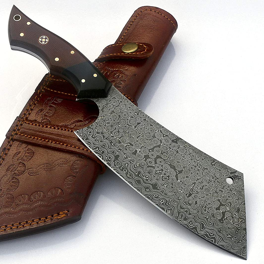 VKA0199 Handmade Damascus Steel Kitchen Chef Cleaver Chopper Professional Knife with sheath 11.5 Inches