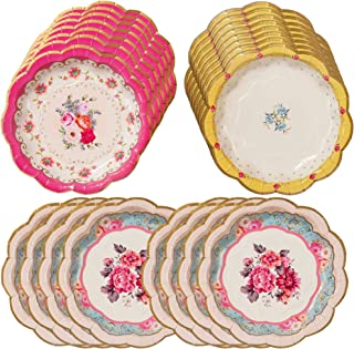 Talking Tables Truly Scrumptious Tea Party Plates for Parties for Parties, Mixed (24 Pack)