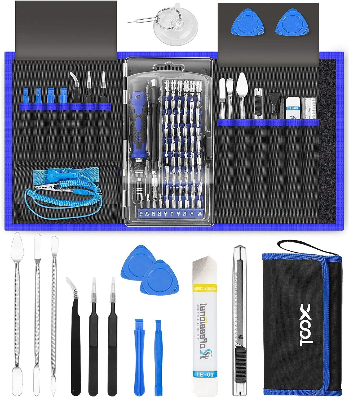 Juego de destornilladores de precisión, 80 en 1, magnéticos, con 42 puntas, kit de herramientas de reparación de electrónica profesional con bolsa, para reparación de iPhone, teléfono móvil